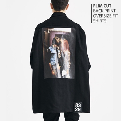 [UNISEX] FLIM CUT BACK PRINT OVERSIZE FIT DENIM SHIRTS