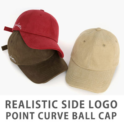 [UNISEX] REALISTIC SIDE LOGO POINT CURVE BALL CAP(5color)