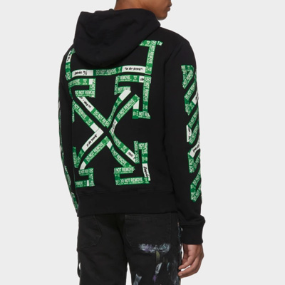 [UNISEX] GREEN LOGO TAPE ARROW PULLOVER HOODIE
