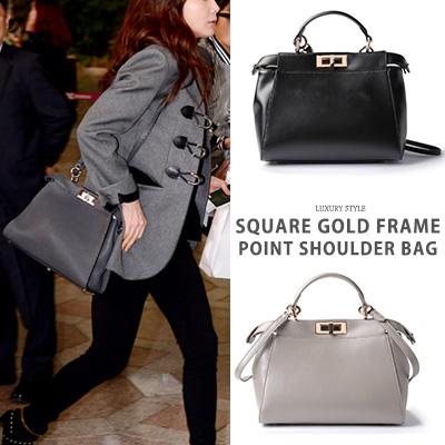 [Cowhide] Korean actress Choi Ji Woo, Lee Sung Kyung st. Square gold frame point lether shoulder bag(2color)