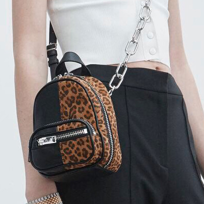 [Lambskin] HALF BLACK LEOPARD MINI BAG