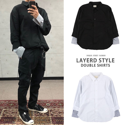[UNISEX] LAYERD STYLE DOUBLE SHIRTS(2color)