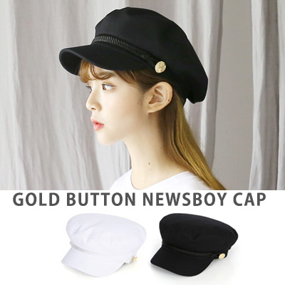[UNISEX] BTS Taehyung/V/taetae/Jimin st. GOLD BUTTON POINT NEWSBOY CAP(2color)