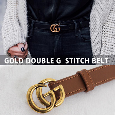 [UNISEX] GOLD DOUBLE G BUCKLE STITCH LEATHER BELT(4color)