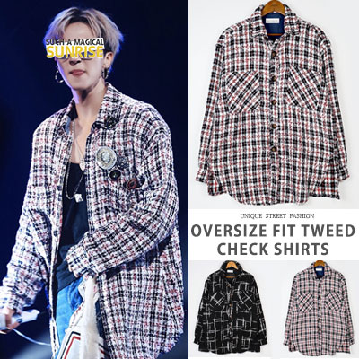 [UNISEX] WINNER/MINO/IKON/NCT st. OVERSIZE FIT TWEED CHECK SHIRTS(2color)