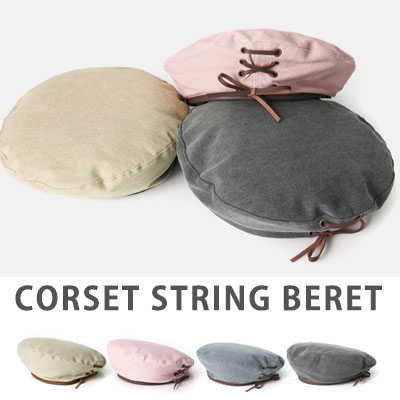 [UNISEX]  WASHED RIBBON EYELET BERET(4color)