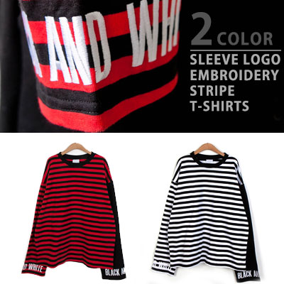 [UNISEX] SLEEVE LOGO EMBROIDERY STRIPE LONG SLEEVE TSHIRTS(2color)