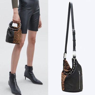 [LAMBSKIN] LEOPARD HALF LAMBSKIN CHAIN BUCKET BAG