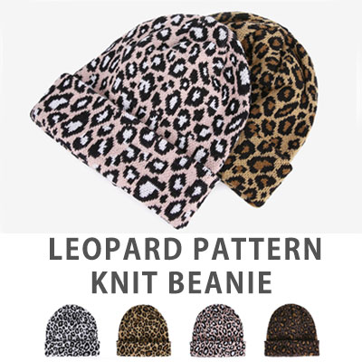 [UNISEX] LEOPARD PATTERN KNIT BEANIE(4color)