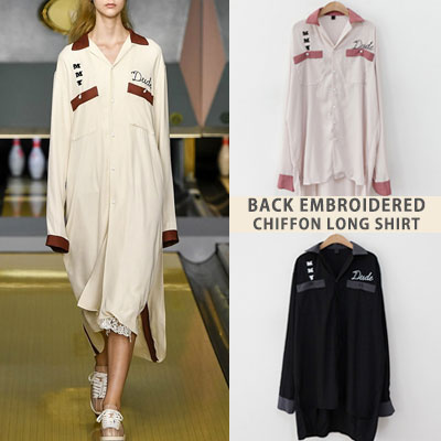 [UNISEX] BACK EMBROIDERY CHIFFON LONG SHIRTS(2color)