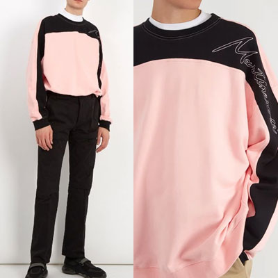 [UNISEX] ONESIDE SHOULDER COLOR MIX SWEATSHIRTS(2color)