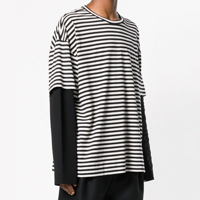 [UNISEX] FAKE LAYERD STRIPE LONG SLEEVE TSHIRTS