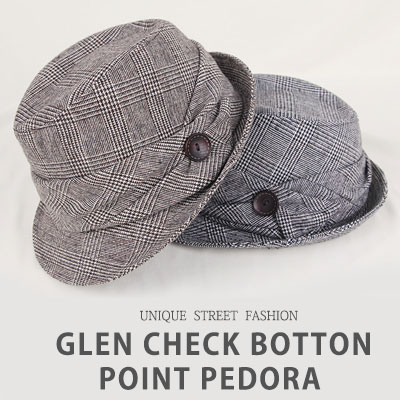 [UNISEX] GLEN CHECK BOTTON POINT FEDORA(4color)