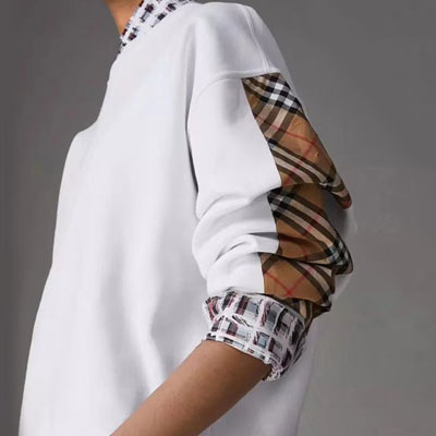 [UNISEX] BEIGE CHECK PATCH SLEEVE POINT SWEATSHIRTS(4size)