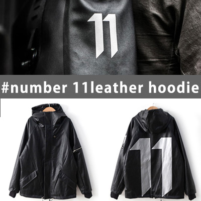 [UNISEX] NUMBER 11 LEATHER HOODIE JACKET