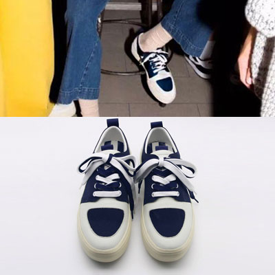 [22.5 ~ 28.0cm] NAVY COLOR POINT SNEAKERS