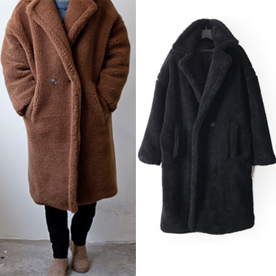 [MEN&UNISEX] MAXY BEAR BUTTON OVERSIZE FIT COAT