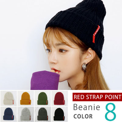 [UNISEX] RED OFF LOGO STRAP POINT BEANIE(8color)