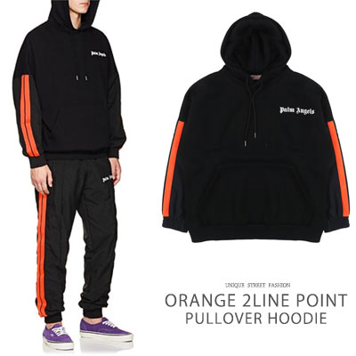 [UNISEX] ORANGE 2LINE POINT PULLOVER HOODIE(2size)