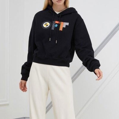 [UNISEX] FLAG CROPPED PULLOVER HOODIE