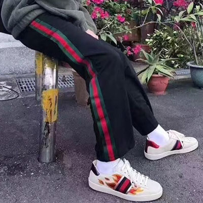 ★PROMPT DELIVERY★[UNISEX] GREEN/RED LINE TRACK PANTS