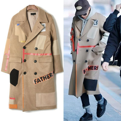 special price G-DRAGON STYLE! RF STYLE PATCH Long coat (M, L)
