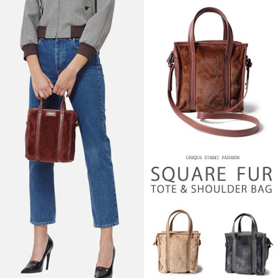 [S size] SQUARE FUR TOTE SHOULDER BAG(3color)