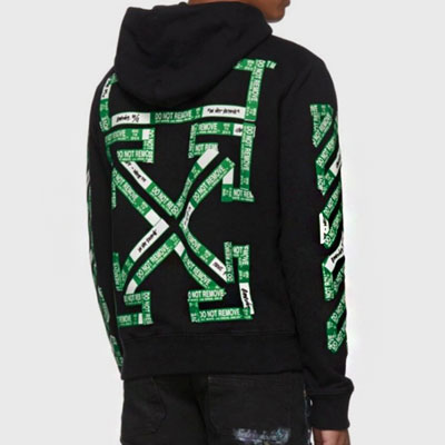[UNISEX] GREEN ARROW TAPE PRINT PULLOVER HOODIE(2color)
