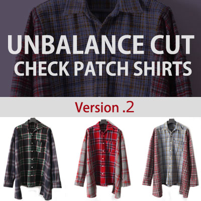 [UNISEX] BTOB YookSungjae st. [ver.2]UNBALANCE CUT CHECK PATCH SHIRTS(3color)