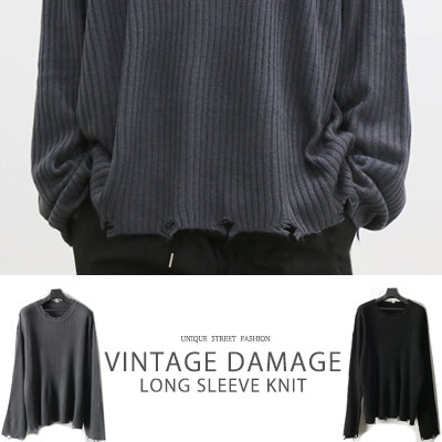 [UNISEX] VINTAGE DAMAGE LONG SLEEVE KNIT(2color)