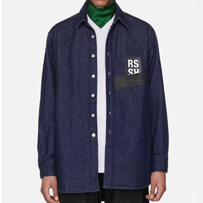 [UNISEX] LOGO PATCH POINT DENIM SHIRTS