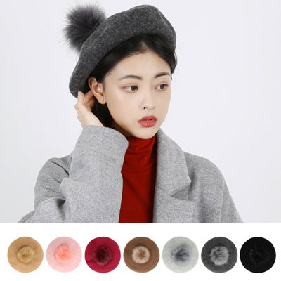 [UNISEX] [WOOL 100%]POM POM FUR WOOL BERET(7color)