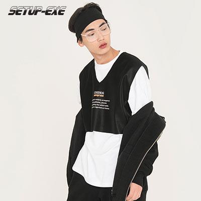 【SETUP-EXE】LETTERING VEST - Black