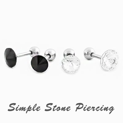 [UNISEX] SIMPLE STONE PIERCING(2size 2color)