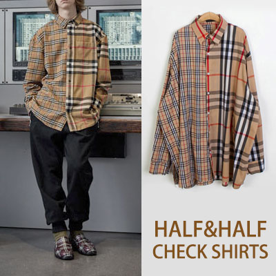 [UNISEX] HALF HALF BEIGE CHECK LONG SLEEVE SHIRTS