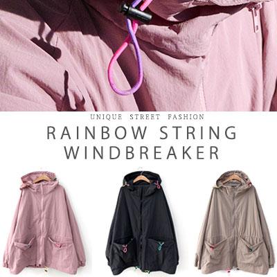 [UNISEX] RAINBOW STRING WINDBREAKER(3color)