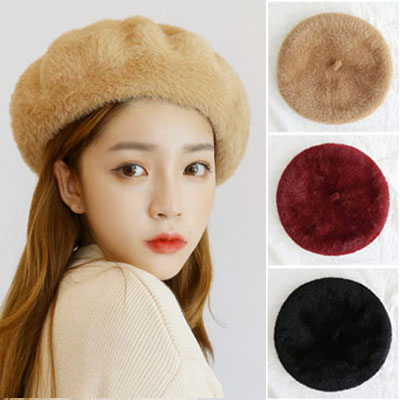 [UNISEX] SOFT FUR BERET(3color)
