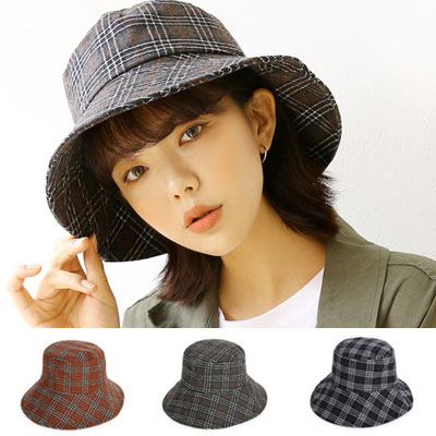 [UNISEX] CHECK LOVE WARM MOOD BUCKET HAT(4color)