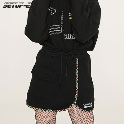 【SETUP-EXE】Check Skirt - Black
