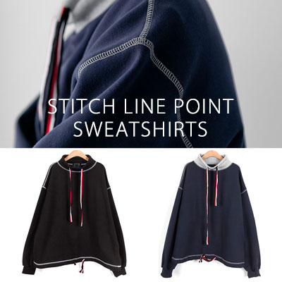 [UNISEX] STITCH LINE POINT SWEATSHIRTS(2color 2size)