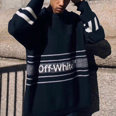 [UNISEX] WHITE LINE POINT OVERSIZE FIT KNIT SWEATER(2size)