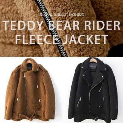 [UNISEX] TEDDY BEAR RIDER FLEECE JACKET(2color)