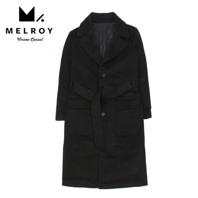 【MELROY】BELT SINGLE BLACK COAT