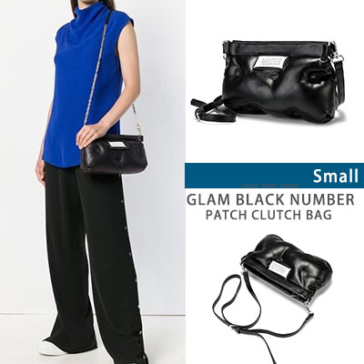 GLAM BLACK NUMBER PATCH CLUTCH BAG -S size