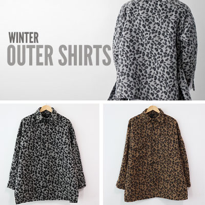 [UNISEX] [WOOL]SIDE SLIT OVERSIZE LEOPARD OUTER SHIRTS (2color)