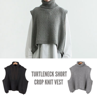 [UNISEX] TURTLENECK SHORT CROP KNIT VEST(2color)