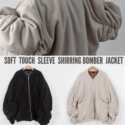 [UNISEX] SOFT TOUCH SLEEVE SHIRRING BOMBER JACKET(2color)