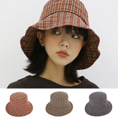 [UNISEX] TATAN MINI CHECK BUCKET HAT(3color)