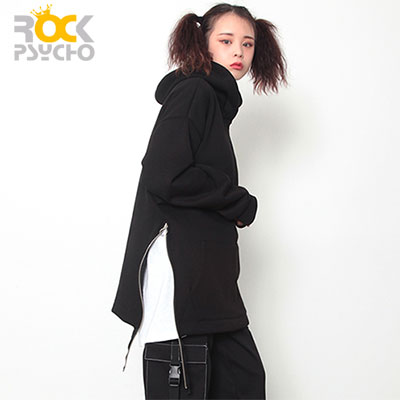 【ROCK PSYCHO】RING ZIPPER HOODIE - black