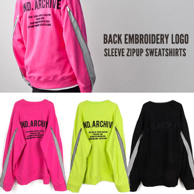 [UNISEX] BACK EMBROIDERY LOGO SLEEVE ZIPUP SWEATSHIRTS(3color)